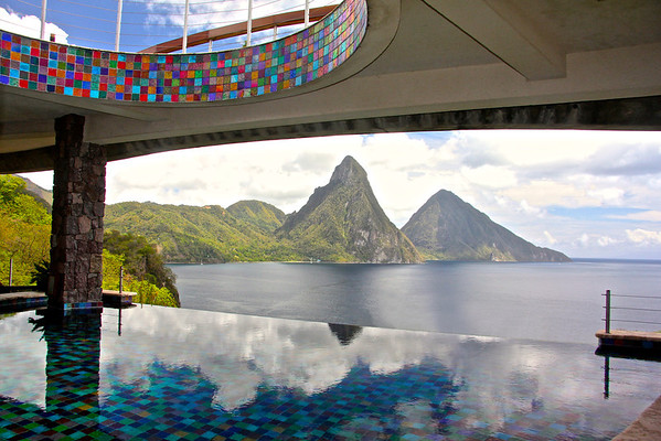 The view from the main lobby and restaurant at Jade Mountain Resort -St. Lucia