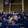 Members of the choir socialize before the Sacred Song Service held on Sunday, July 27, 2015.