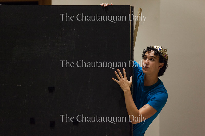 "Chautauqua Theatre Conservatory actor Josh Grosso portrays the character of The Prince in ""Princess and the Prince,"" a play written by Chautauqua Lake Central School third grader Zachary Johnson for the Young Playwrights Festival. The Young Playwrights Festival, which debuted on June 20, 2016, in Lenna Hall, is part of a collaboration between the Chautauqua Theatre Conservatory and Florida Studio Theatre."