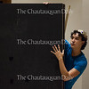 """Chautauqua Theatre Conservatory actor Josh Grosso portrays the character of The Prince in """"Princess and the Prince,"""" a play written by Chautauqua Lake Central School third grader Zachary Johnson for the Young Playwrights Festival. The Young Playwrights Festival, which debuted on June 20, 2016, in Lenna Hall, is part of a collaboration between the Chautauqua Theatre Conservatory and Florida Studio Theatre."""
