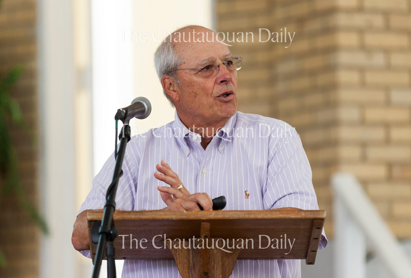 John Dilley, chair of the Chautauqua Property Owners Association, gives a presentation about the progress of the Chautauqua Street Light Modernization Project at 12:45 PM on July 18, 2016, in Smith Wilkes Hall. Dilley also explained the functional and aesthetic differences between the street lights that currently exist around the grounds and the ones that the CPOA wants to install. Photo by Carolyn Brown.
