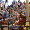 "Ann Patchett elaborates on a point in conversation with Roger Rosenblatt at the Amphitheater on June 30, 2016, as part of the Week One morning lecture series ""Roger Rosenblatt & Friends: On Creative Expression."" In their conversation, Patchett and Rosenblatt discussed varying topics, including caretaker for someone with a serious illness, why magic as a trade is often misogynistic,  Patchett's knack for financial management as a teenager, and the ""invisibilities"" that go into a novel. Photo by Carolyn Brown."
