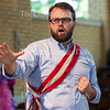 """Baritone Jake Skipworth performs """"Agony"""" from Stephen Sondheim's """"Into the Woods"""" at the Chautauqua Opera's event """"Hojo-To-Jo! To the Opera We Go!"""" at 5 PM on July 19, 2016, at Smith Wilkes Hall.<br /> <br /> At the event, Skipworth and  other members of the Chautauqua Opera Young Artist class of 2016 introduced children to opera by performing famous arias, teaching them opera vocabulary, and involving the audience in the show. Photo by Carolyn Brown."""