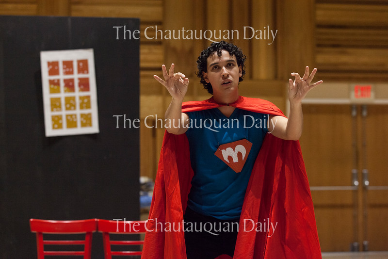"Josh Grosso portrays ""Mike,"" one half of the eponymous silly superhero duo in ""The Adventures of Patrick and Mike,"" written by Panama School third grader Tate Catanese. In the show, Mike and Paul save the day from a sleeping supervillain. The show debuted at Lenna Hall on June 20, 2016, as part of the Young Playwrights Festival. The Young Playwrights Festival is a collaboration between the Florida Studio Theatre and the Chautauqua Theatre Conservatory."