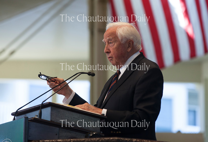 "Pulitzer Prize winning author David McCullough presents his book ""The Wright Brothers"" during Week Four's Chautauqua Literary and Scientific Circle Roundtable at 10:45 AM on July 20, 2016, in the Amphitheater. <br /> <br /> After taking the stage to a shout of ""McCullough for president,"" he discussed the Wright brothers and their legacy.<br /> McCullough spoke about the notebooks the brothers left behind, referencing a passage from one of Wilbur's notebooks: ""No bird ever soared in a calm,"" he wrote.<br /> ""Those of us of Irish descent know that wonderful old Irish line, 'May the wind always be at your back,'"" McCullough said. ""They realized you had to do exactly the opposite — you had to be going into the wind, you had to have the wind against you, not with you. And in many ways, that was their philosophy of life. You didn't sit around and complain that you weren't comfortable enough. You accepted discomfort and accepted adversity as part of life and a part of life that can bring you up to your best. … This became their philosophy, and it's why they succeeded. And there's so much to be learned from that.""<br /> <br /> Photo by Carolyn Brown."