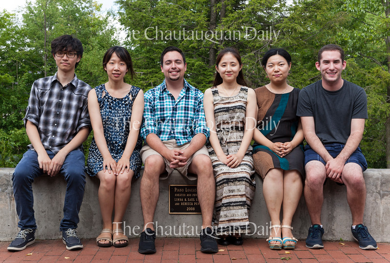 From left: Yunhan Gu, Hyejin Joo, Dominic Muzzi, Xiaoya Liu, Yi-Qing Tang, and Mackenzie Melemed pose for a photo on the Piano Lovers Patio on Tuesday, July 26, 2016, outside Sherwood-Marsh Studios. The students were preliminary finalists in the Annual Piano Competition in the Piano Program at Chautauqua. Photo by Carolyn Brown.