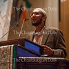"APYA Muslim coordinator Yasin Ahmed delivers a personal reflection at the Sacred Song Service, ""The Family of Abraham Seeks Courage to Change,"" at 8 PM on July 31, 2016, in the Amphitheater. Ahmed talked about his experiences with Islamophobia and the resilience of the Muslim community. Photo by Carolyn Brown."