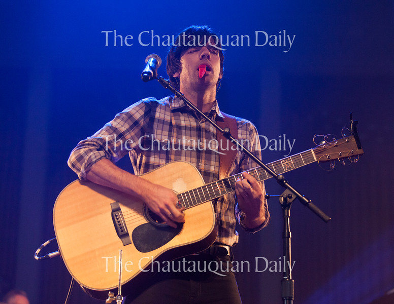 Seth Avett of The Avett Brothers performs at 8:15 PM on July 8, 2016, at the Amphitheater. The show drew a sold-out crowd.<br /> <br /> Photo by Carolyn Brown.