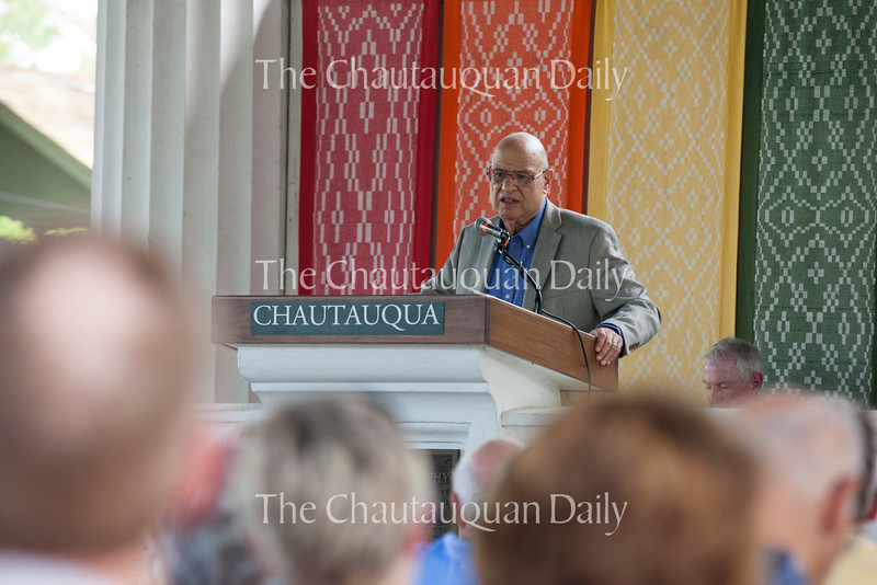"The Rev. Tony Campolo delivers his sermon ""The Decisions that Created Me"" at 5 PM on July 17, 2016, the Hall of Philosophy. Rev. Campolo discussed how his experiences growing up around Jewish people and African-Americans made him aware of the Holocaust and racism. Rev. Campolo said, ""When you have rejected people on the basis of race, you have rejected the essence of the Gospel."" Photo by Carolyn Brown."