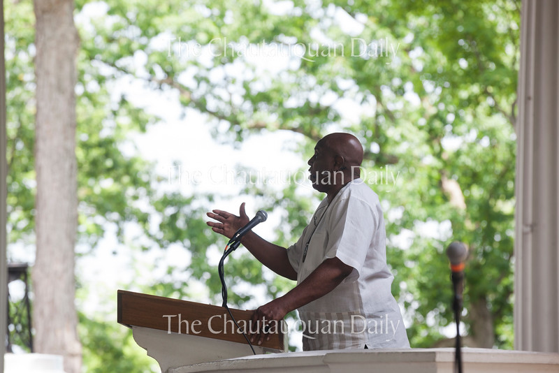 "Rev. Gerald Durley delivers his lecture ""Protecting and Serving the Planet Matters"" at 2 P.M. on Friday, July 29, 2016, at the Hall of Philosophy. Durley said that the Rev. Otis Moss, this week's Morning Worship leader, was one of his former students. Photo by Carolyn Brown.<br /> <br /> Photo by Carolyn Brown."