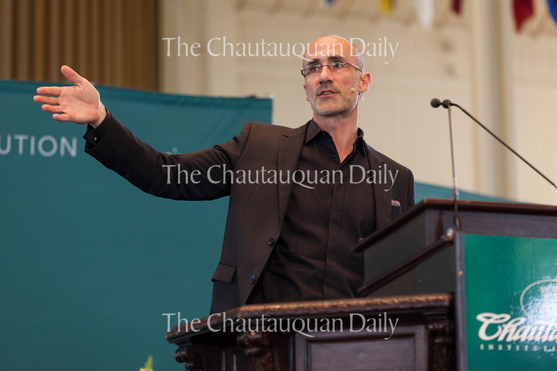 Arthur C. Brooks, president of the American Enterprise Institute, delivers a lecture at 10:45 AM on July 12, 2016, at the Amphitheater, as part of the morning lecture series. Brooks discussed the advantages and disadvantages of capitalism and why he believes the free market can solve poverty.