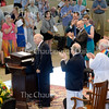 Thomas M. Becker receives a standing ovation before delivering the annual Three Taps of the Gavel address during Sunday's morning worship service in the Amphitheater June 26, 2016.  Becker will be retiring as president of the Chautauqua Institution at end of the year.