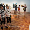 "Barbara Blotnik and Viola Sterman look at ""Nocturne"" by Dan Hernandez in the 59th Chautauqua Annual Exhibition of Contemporary Art during the opening reception in Strohl Art Center on Sunday, June 26, 2016."