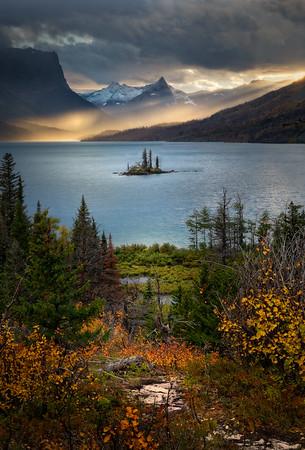 St Mary Lake, sunset