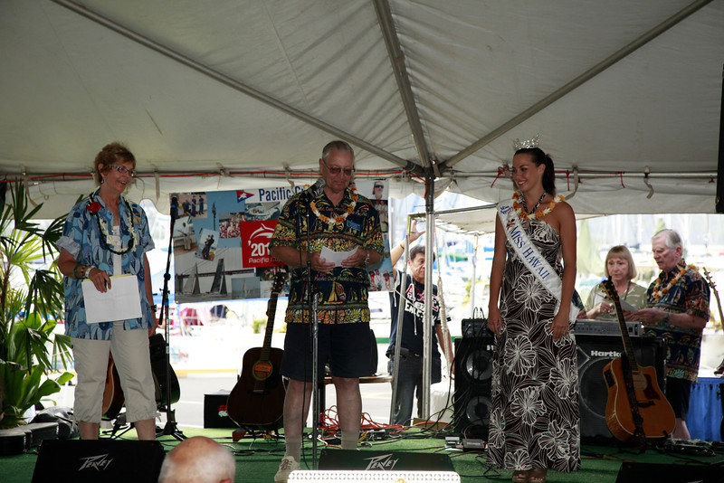 From left, PCYC Commodore Pat Lowther, KYC and PCYC Staff Commodore Lou Ickler and Miss Hawaii.