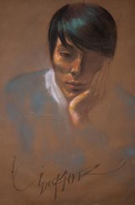 Irv Docktor pastel portrait-16