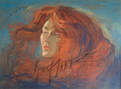 Long red hair watercolor