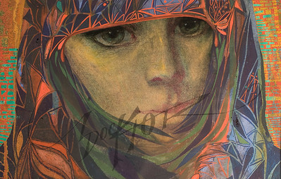 Green eyed woman in shawl