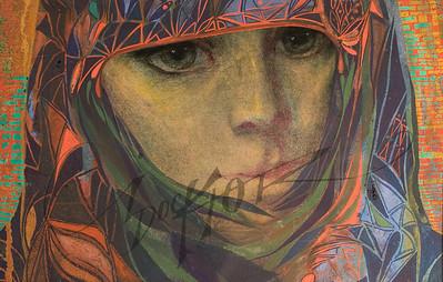 Green eyed woman in shawl