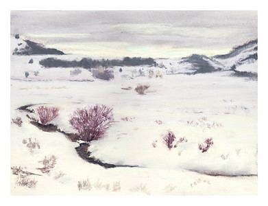 "Winter in the Lamar Valley 9"" x 12"""
