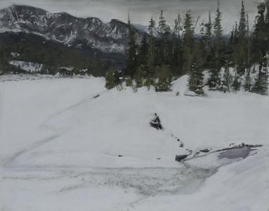 "Frozen creek at Hyalite 11 x 14"""