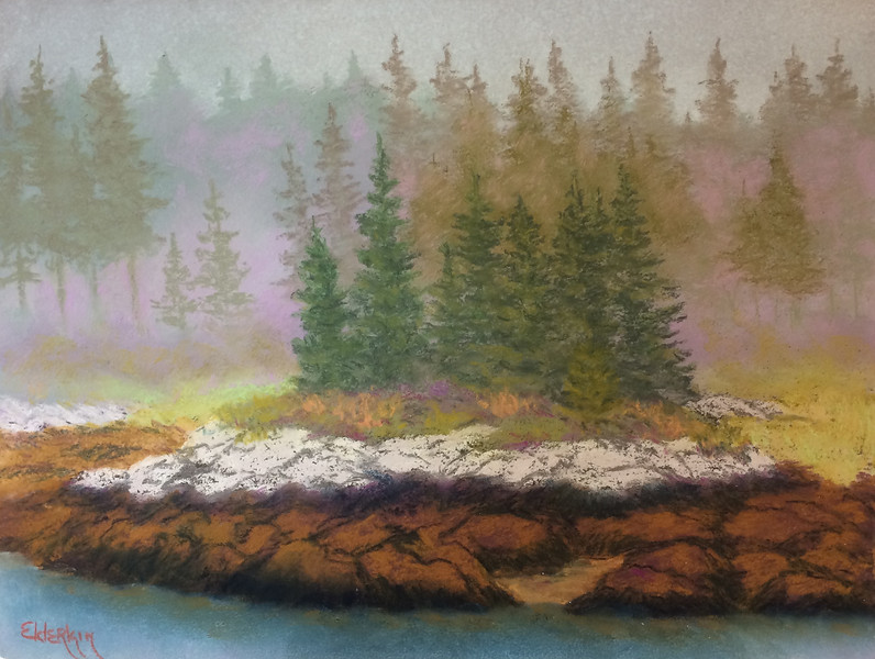 Fog Creeping in on Pratt's 9 x 12 Pastel