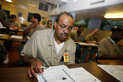 Pastor Wendall Jeffery (Practical Christianity Ministries) inside Westville Correctional Facility  with inmates.