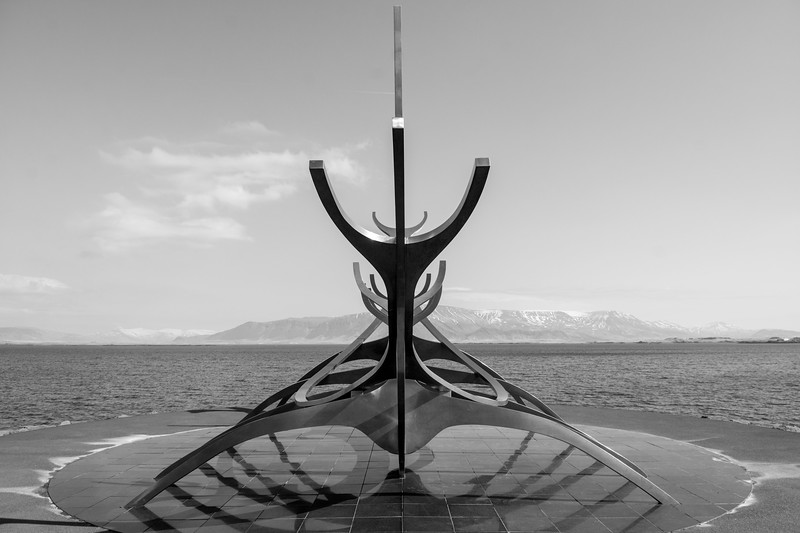Viking inspired sculpture in Reykjavik.