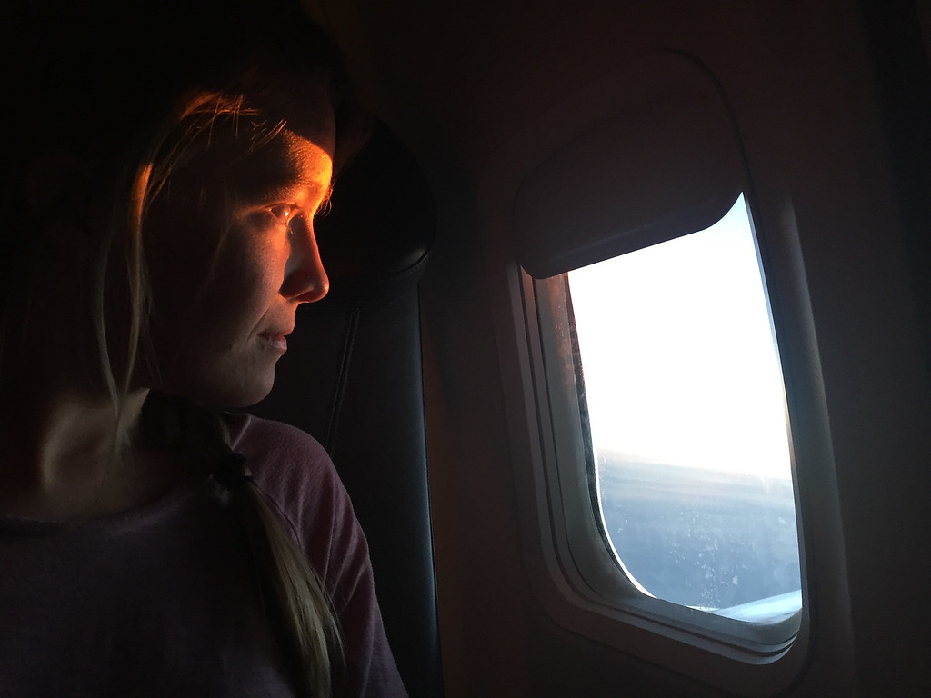 Watching the sunset over the North Pole enroute to Iceland.