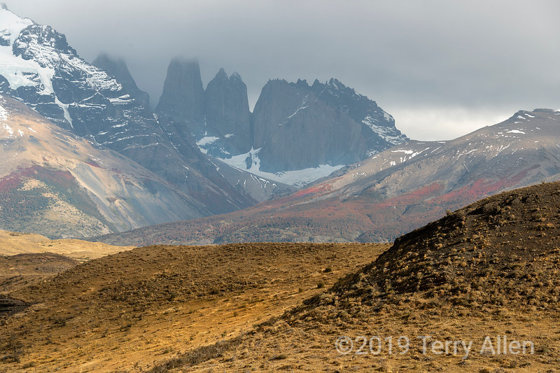 Torres del Paine in the mist with fall colours in the foreground, Patagonia