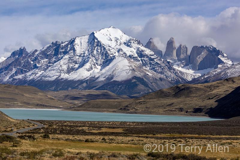 Cerro Almirante Nieto and  Torres d'Agostini, Central and Monzino (L to R) with Lago Amarga, Patagonia