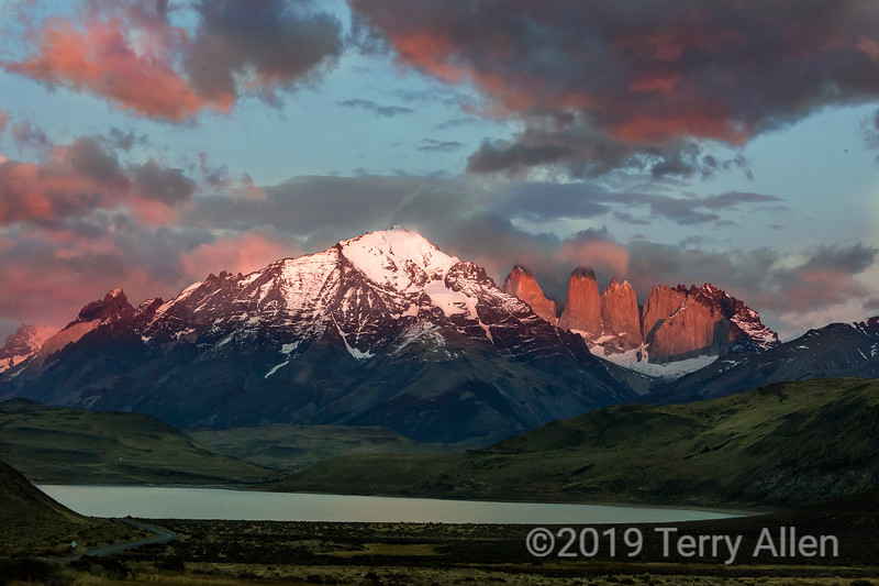 Sunrise with alpen glow, Torres de Paine, Patagonia, Chile