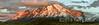 Panorama of Cerro Paine Grande and Torres del Paine at sunrise, Patagonia