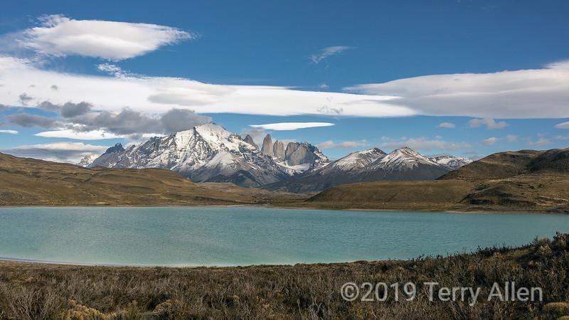 Torres del Pain with Lago Amarga and lenticular clouds, Patagonia