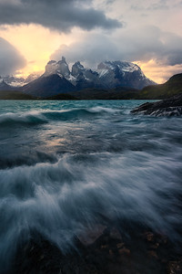 Waves from the wind crash onto the shore in TDP - Patagonia, Chile