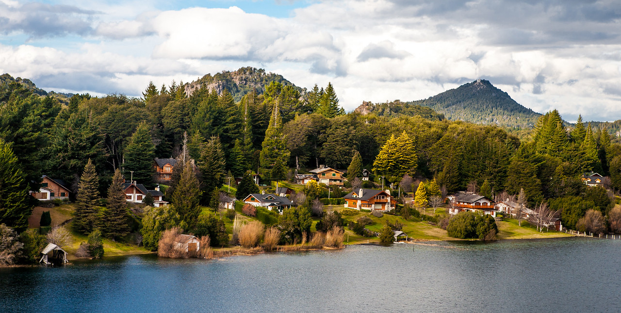 Houses along the lake in Bariloche, Argentina
