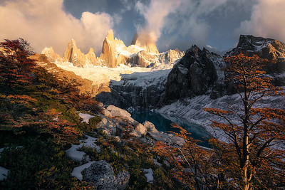 First light of the day hits the hillside beneath Fitz Roy - Patagonia, Argentina