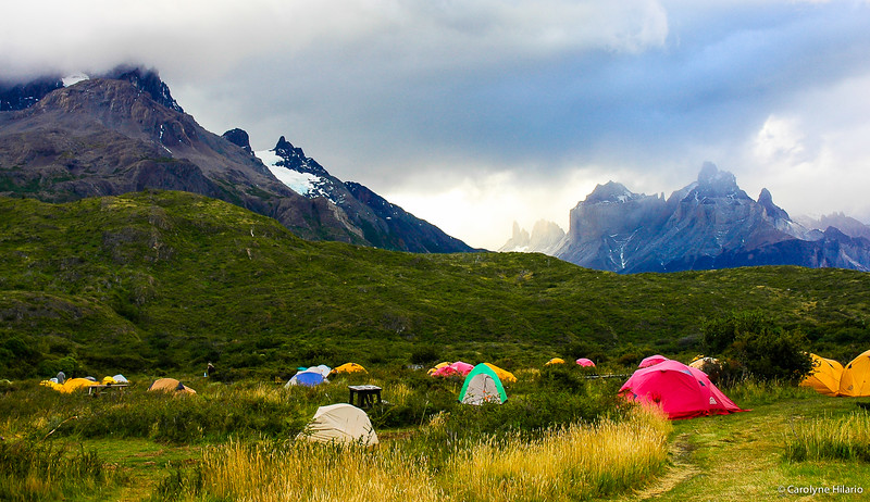 Trekkers at Rest<br /> Torres del Paine National Park<br /> Chilean Patagonia