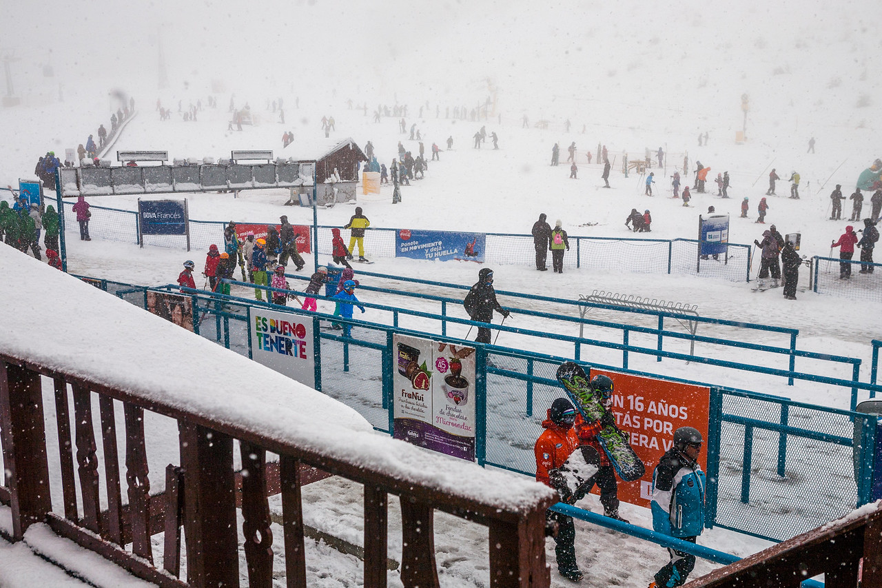 Skiing lessons for beginners on Cerro Catedral, Bariloche, Argentina