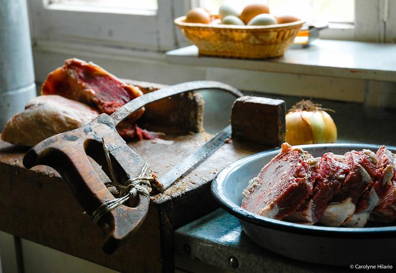 Meat Saw & Lamb Chops<br /> Estancia Mata Grande<br /> Tierra del Fuego, Chilean Patagonia
