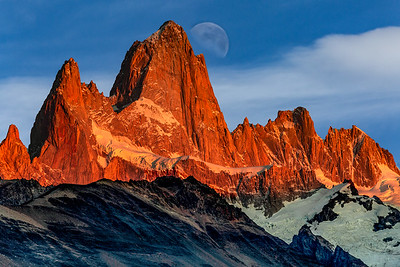 Moon over Fitzroy Massif