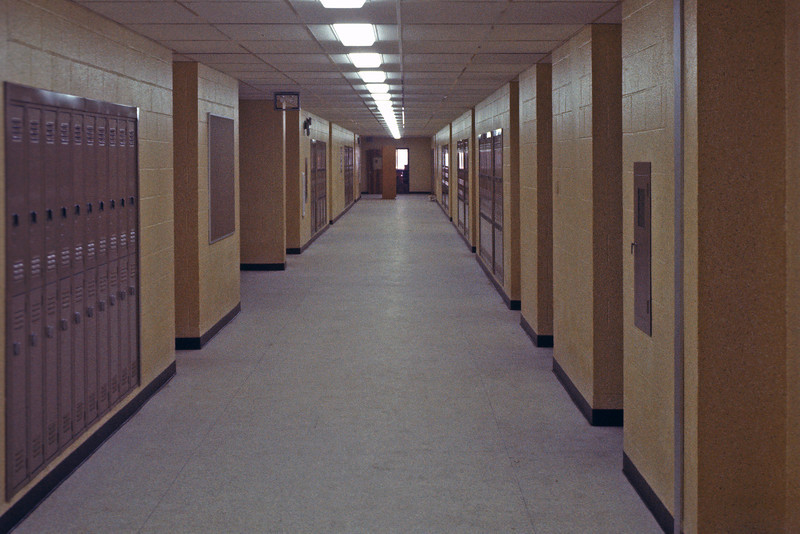 Hallway, July 1965. The school first opened to students in September of 1965.