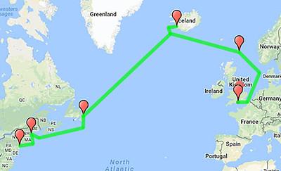 Path of Vikings.....South Hampton England, Lerwick Scotland, Reykjavik Iceland, St. Johns Newfoundland, Portland Maine, NYC