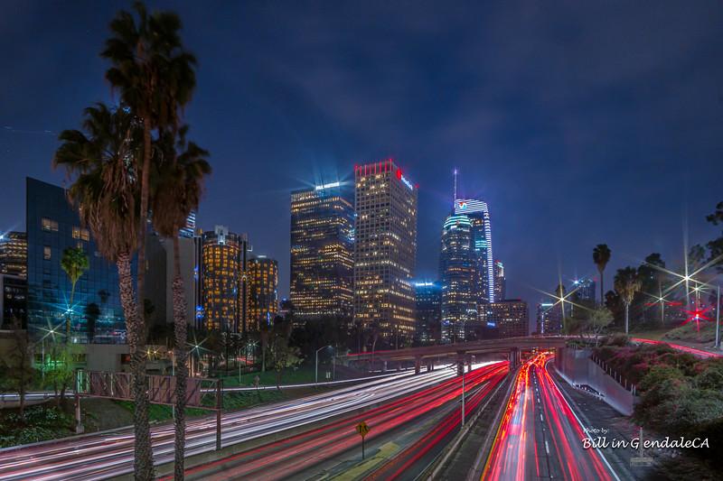 Downtown LA traffic trails