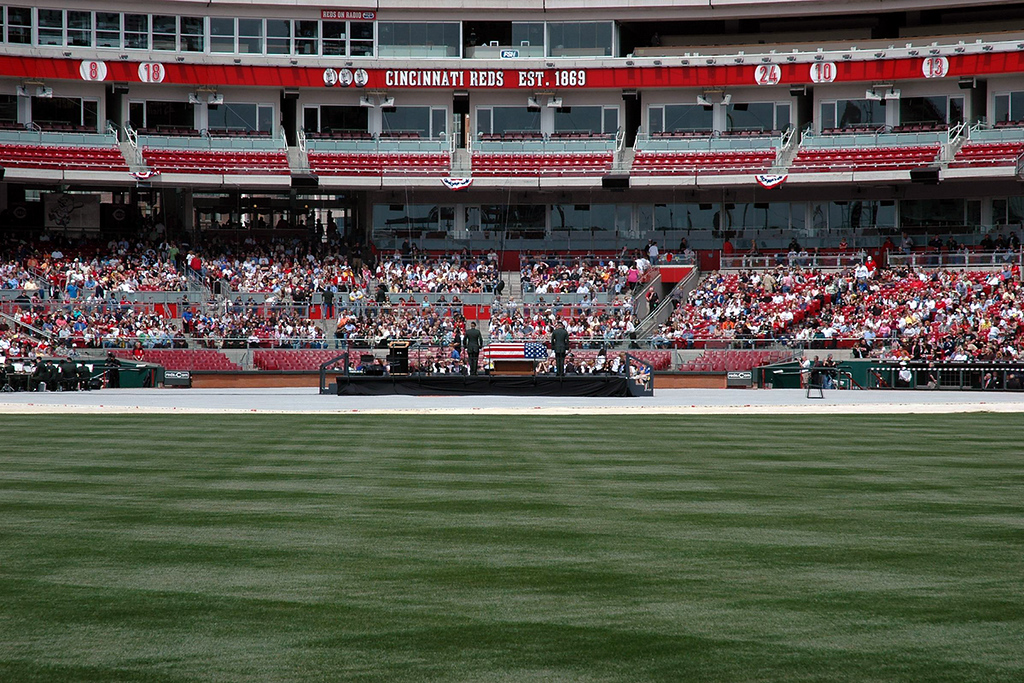 The view of the crowd that will soon grow to over 4000 from center field.<br /> Photo by CJ