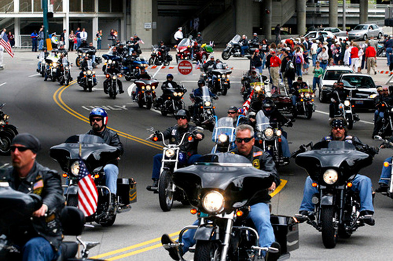 Thousands of motorcycles arrive at the Great American Ball Park for the celebration service in honor of Keith Matthew Maupin, who was killed in Iraq. <br />  Staff photo by Nick Graham