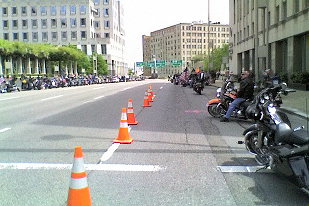 Cincinnati police close five blocks from the ball park for motorcycle parking.