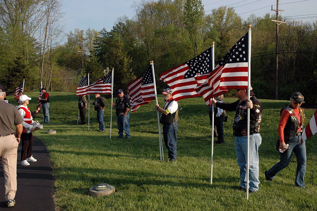 The Patriot Guard Riders set up our perimeter.