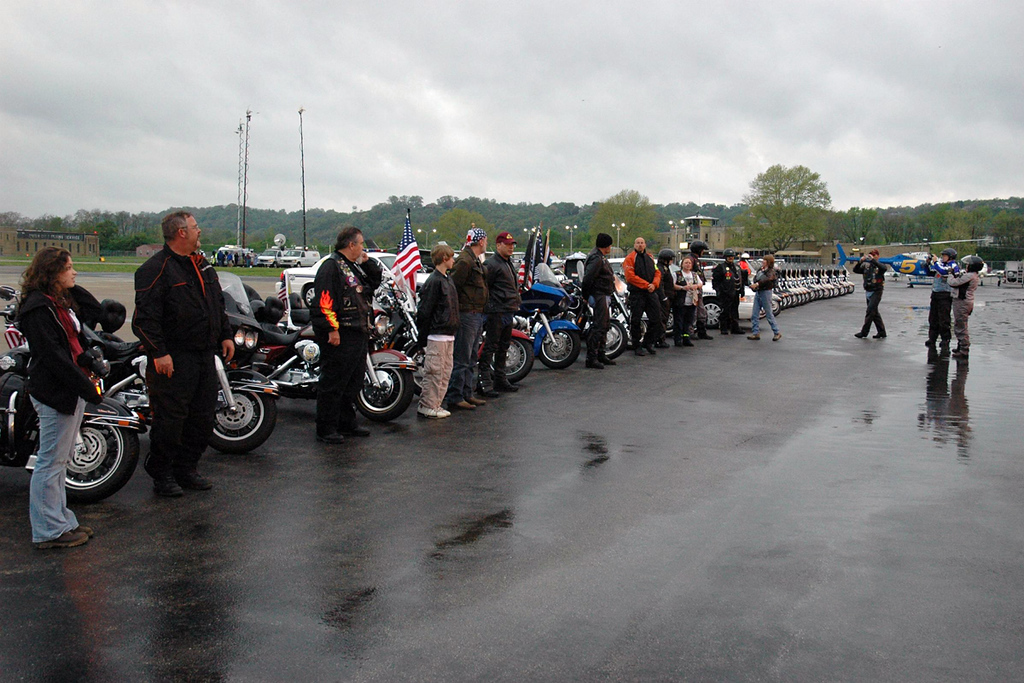 A small group was dispatched to Lunken Airport to pick up Staff Sgt. Matt Maupin.