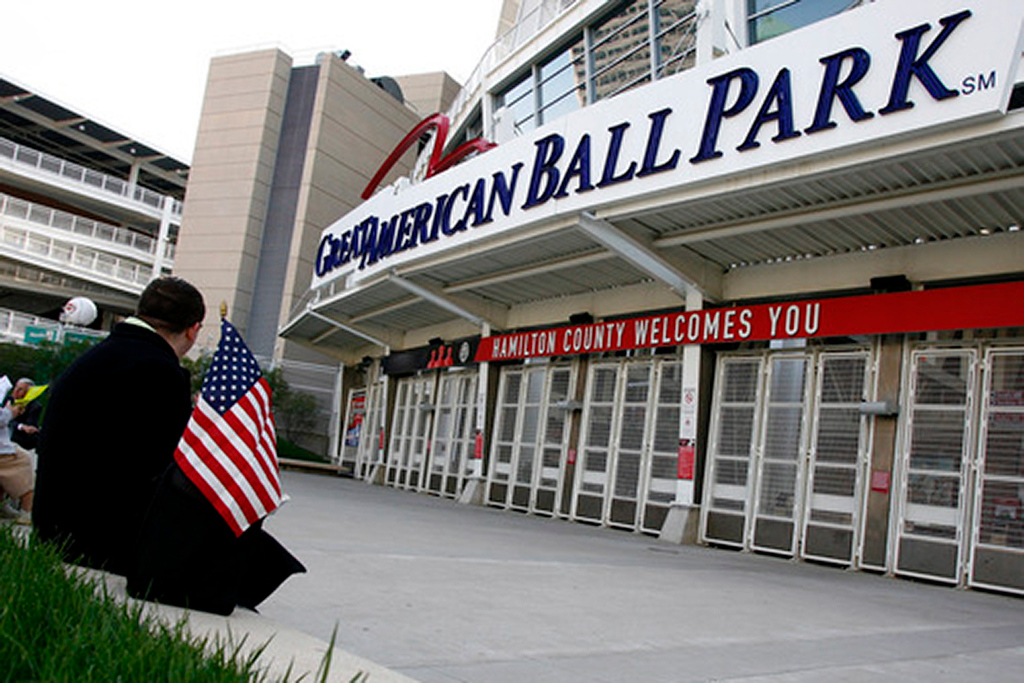 Philip Swain (CQ) waits for the gates to open for a celebration service for SSG Keith Matthew Maupin, who was killed in Iraq, Sunday, April 27 at Great American Ball Park in Cincinnati, Ohio.  Swain said he came to be patriotic and to show support.  Staff photo by Nick Graham